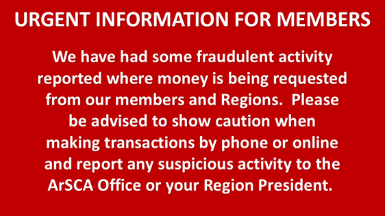Urgent Information for Members
